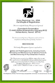 Sijil ISO 9002 : 94 Spirulina