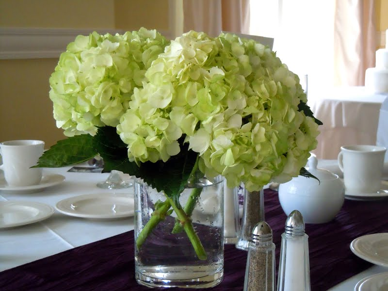 Centerpiece Of Green Hydrangeas