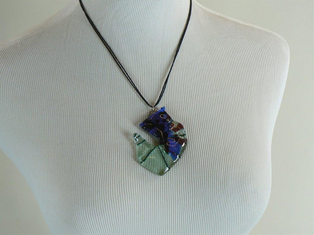 Fancy schmancy recycled glass pendant necklaces - Recycled glass pendant lights ...