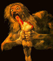 The Spanish painter Goya in 1789 painted Satan as a giant eating a human body.