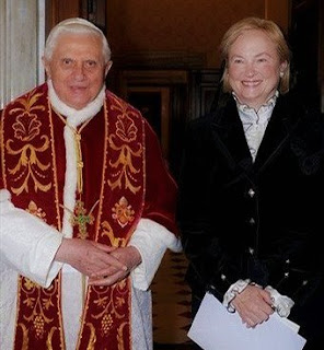 Pope Benedict welcomes Mary Ann Glendon as the new U.S. Ambassador to the Vatican, February, 2008.