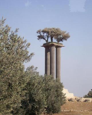 Este monumento estaba muy cerca del kibbutz Ramat Rajel