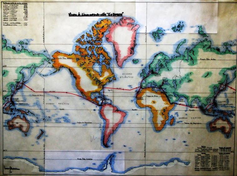 Mapa viagem circum-navegação