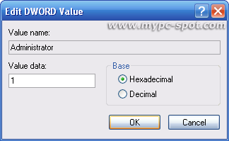 edit administrator dword value
