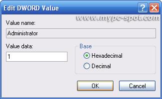 edit administrator dword value