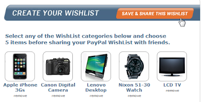 Save and Share PayPal Wish List