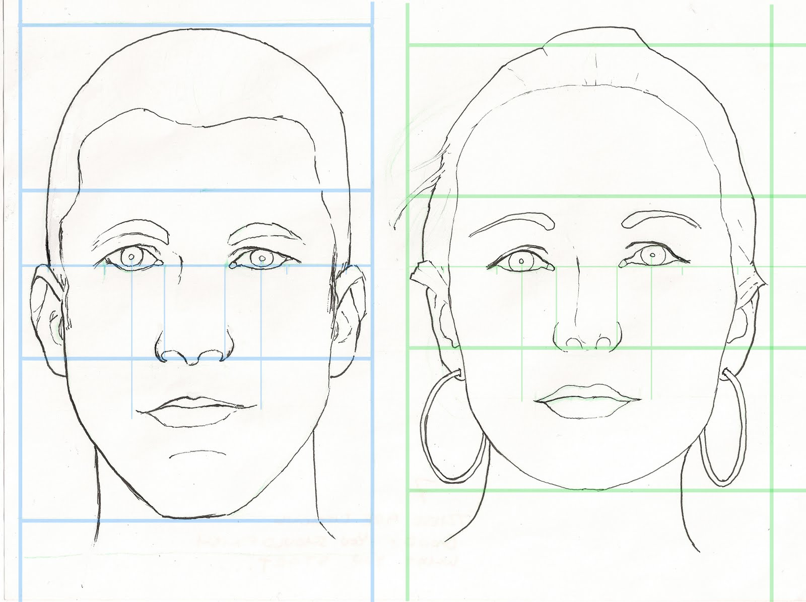 Woman draw facial proportions