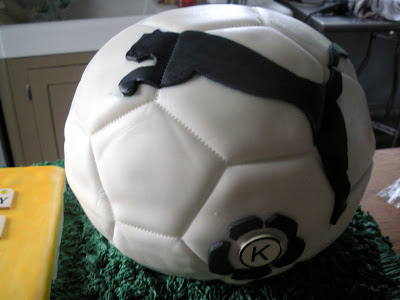 soccer ball cake. for the half a soccer ball