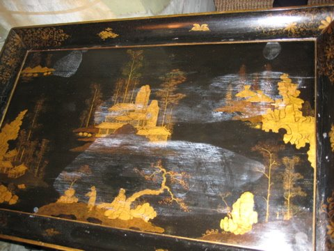 Black Japanned Side table, 19th c.