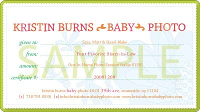 Kristin Burns Baby PhotographyPhotography Gift Certificate Ideas