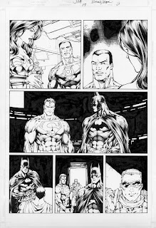 Batman and Superman original comic art by Ed Benes