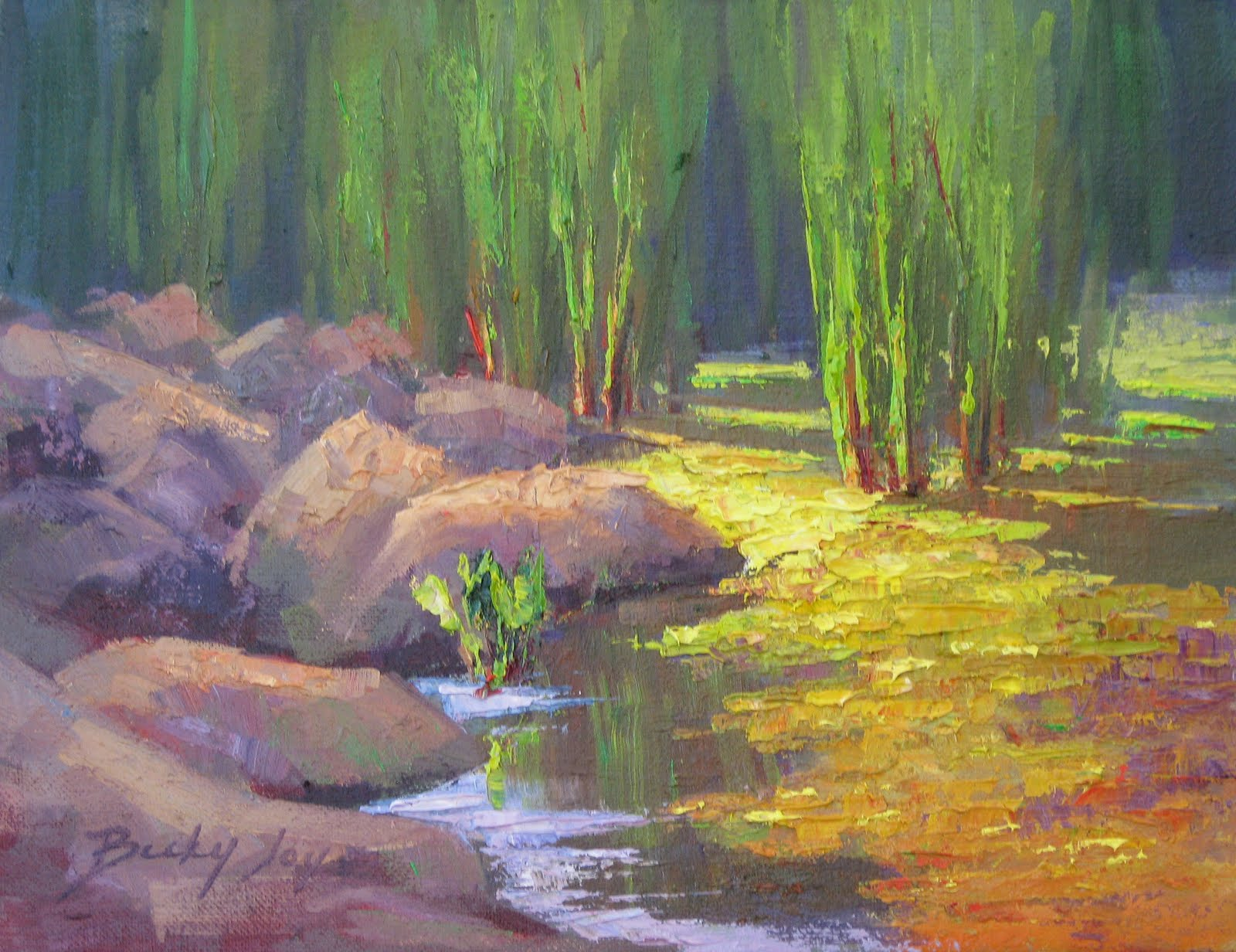 Palette Knife Painters Marsh Grasses Amp Pond Oil Painting By BECKY JOY