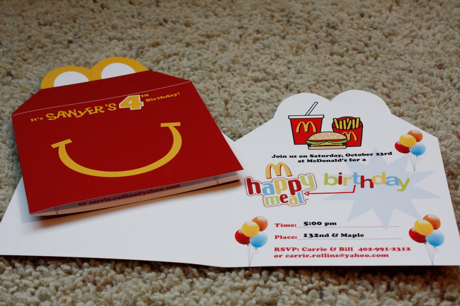 Days Of Our Lives Its Party TimeMcDonalds Style – Mcdonalds Birthday Party Invitations