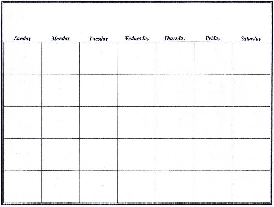 Large Blank Calendar | Calendar Template 2016