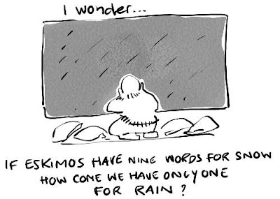 Stortregen. Slagregen. Motregen. Miezerbuitje. Zondvloed. Pijpestelen. Hondeweer. Het plenst... Het regent dat het giet... Has potential.