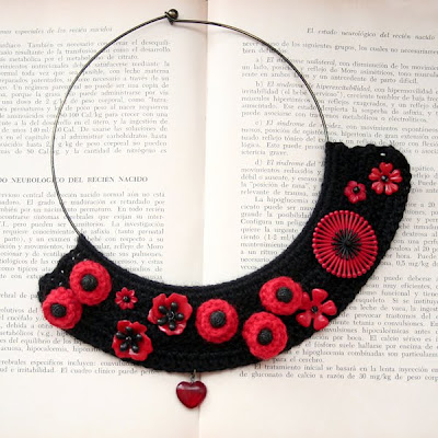 bib necklace with red flowers