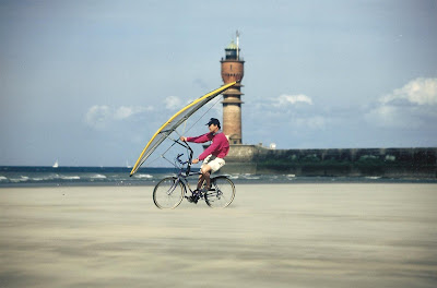 Pierre-Yves Gires and sailing bicycle with WindBike in Dunkerque
