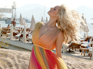 Adriana Sklenarikova in Rainbow Summer Beach Tank Dress on Stunning Model Photoshoot