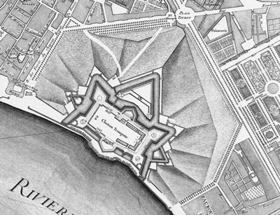 Le Château Trompette, plan géométral de Bordeaux, 1754