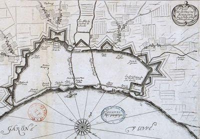 Château Trompette, plan de Bordeaux avec ses vielles et nouvelles fortifications, 1653