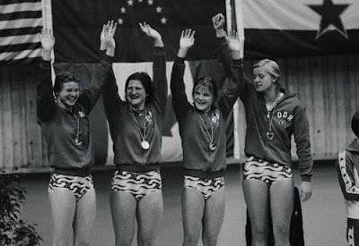 Ulrike Richter, Hannelore Anke, Andrea Pollack y Kornelia Ender, Montreal 1976