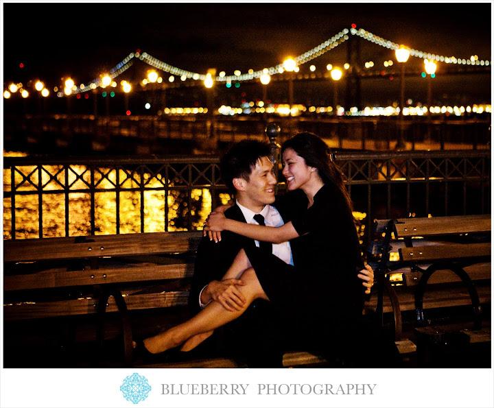 San francisco bay bridge evening engagement session