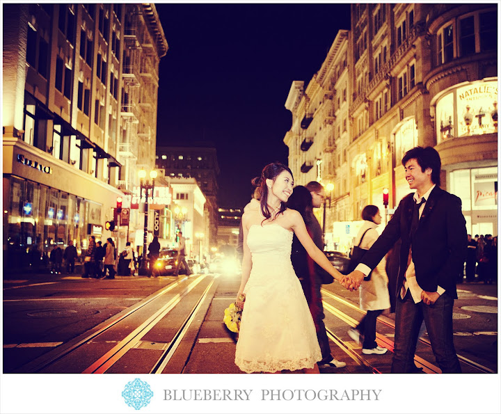 san francisco union square evening bridal portraits