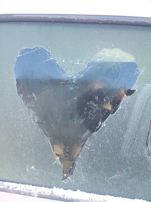 icy heart on a window