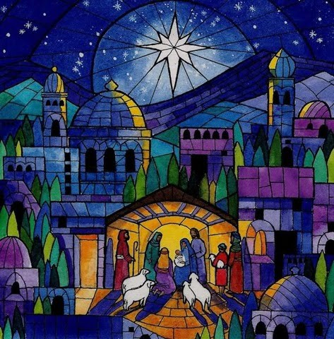 stained glass widow of nativity by Robert Young, Royalty free