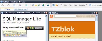Maxthon - příklad MDI aplikace