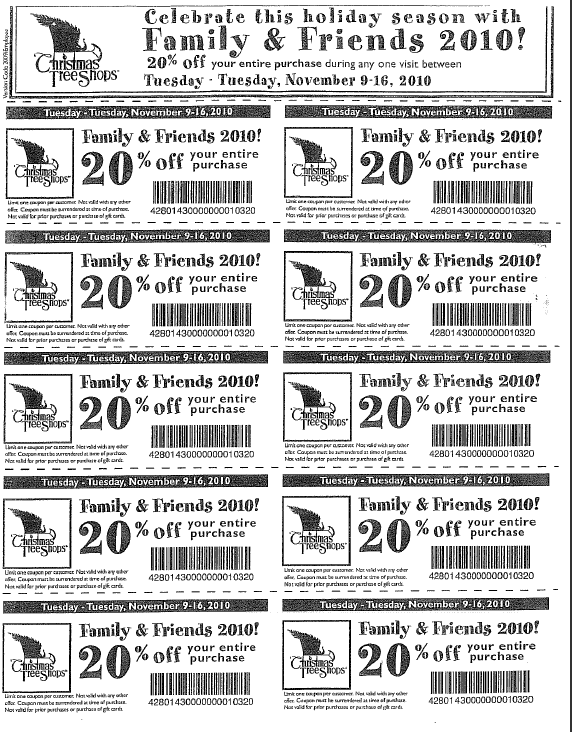christmas tree shop friends and family coupon - Coupon For Christmas Tree Shop