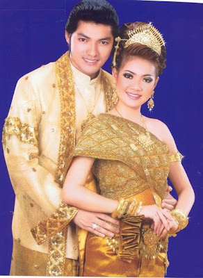 Cambodian Movie Stars on Silver Wedding Dress