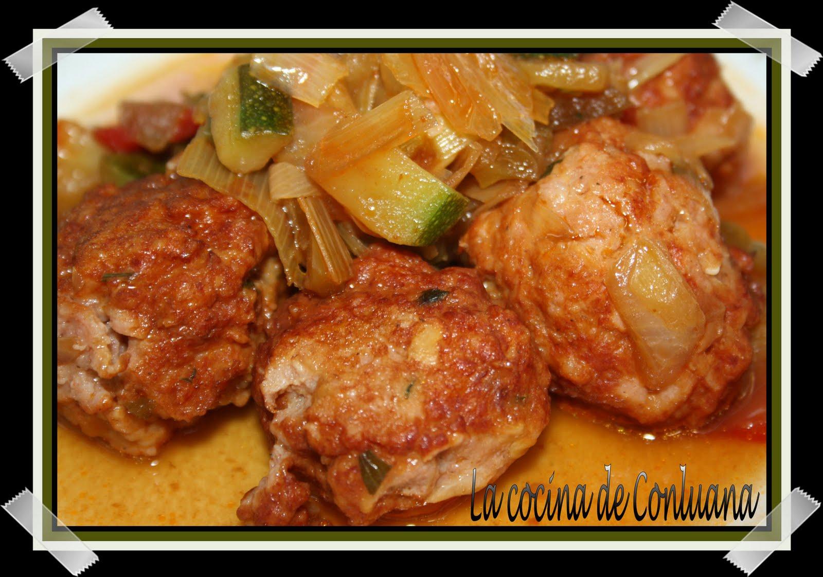 La cocina de conluana alb ndigas de pollo agridulces con for Albondigas de verduras