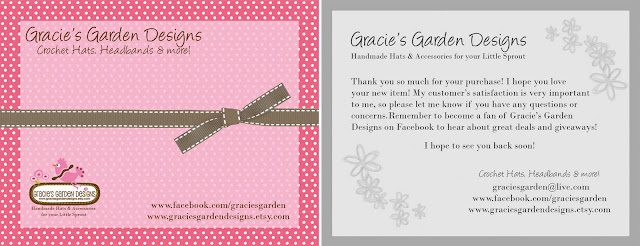 product cards for carissa the owner of gracies garden designs she makes the cutest crochet hats headbands and other accessories for little ones