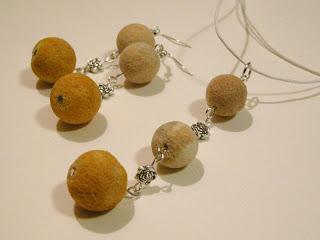 biżuteria z półfabrykatów - pomarańczowo-piaskowy koral po zmianie (komplet)