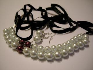 biżuteria z półfabrykatów - biel i różowy akcent (komplet)