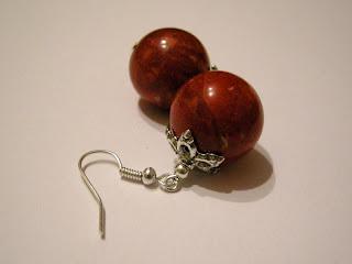 biżuteria z półfabrykatów - kolczyki: owocowy koral