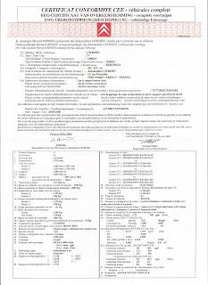 Citroen Certificate Conformite - Katt a nagyításhoz