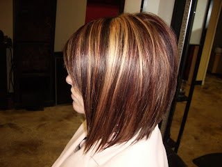 blonde highlights with level 5 red violet lowlights