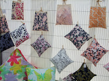 Selection of handprinted cushions & 'Bags for life'