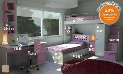 Dormitorios infantiles recamaras para bebes y ni os - Camas para dos hermanos ...