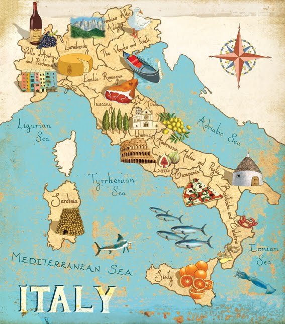 Gumboillustration Map Of Italy