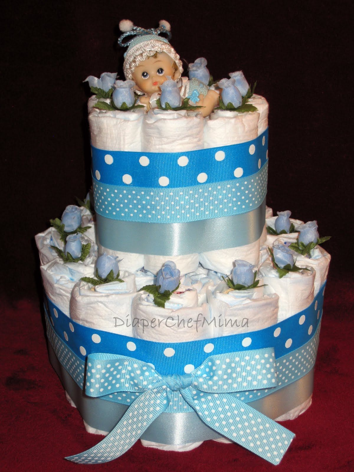 Diaper Cake Centerpiece For Baby Shower : Baby Shower Cakes: Baby Shower Diaper Cake Centerpiece Ideas