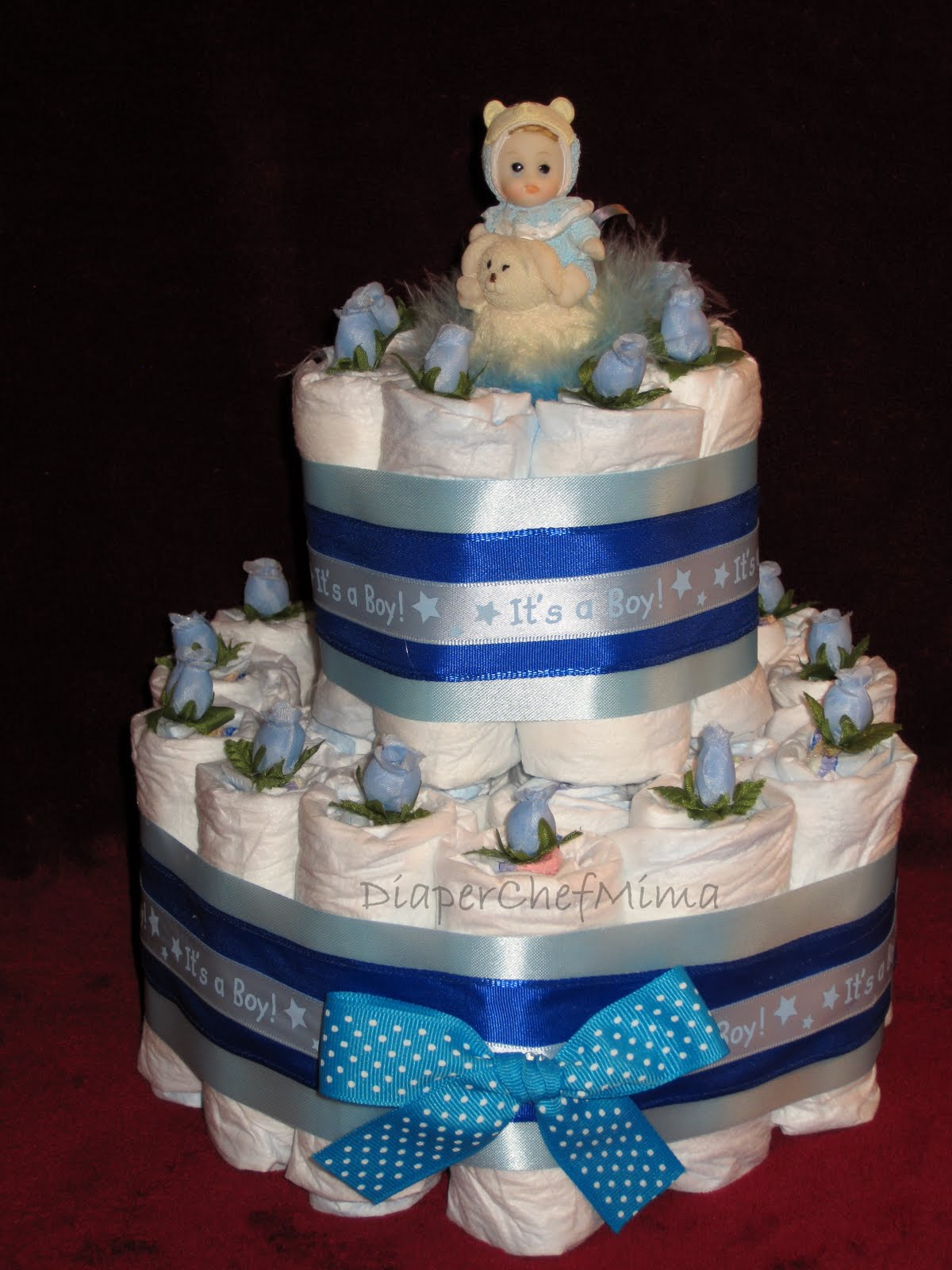 diaper chef mima baby shower diaper cake centerpieces