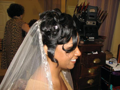 Lovely Curly Updo with Veil