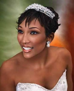 Short Bridal Hairstyle With Comb Tiara