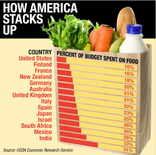 How America Stacks Up Food Costs Around the Word, Percent of budget spent on food, Food vs. Fuel