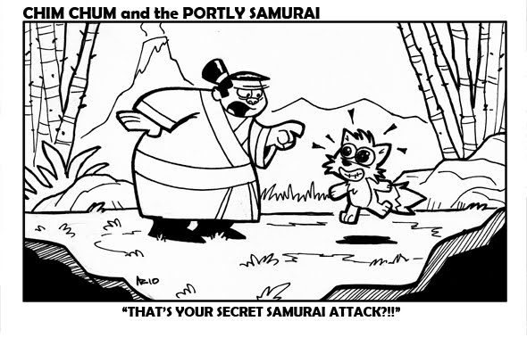 "Image: Chim Chum smiles so adorably, and so wide-eyed, he sparkles. The Portly Samurai exclaims, ""THAT'S YOUR SECRET SAMURAI ATTACK?!!"""