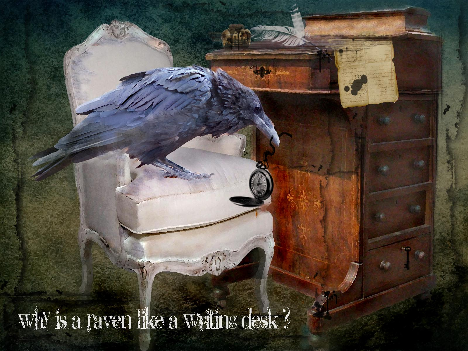 "raven writing desk Lewis carroll quote: ""why is a raven like a writing desk – mad hatter i haven't  the slightest idea – alice."