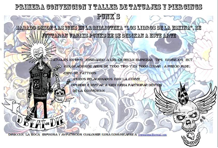 venta de material para tatuajes. LA PRIMERA CONVENCION -TALLER DE TATUAJE Y PIRCING, DADO POR VARIXS PUNKS